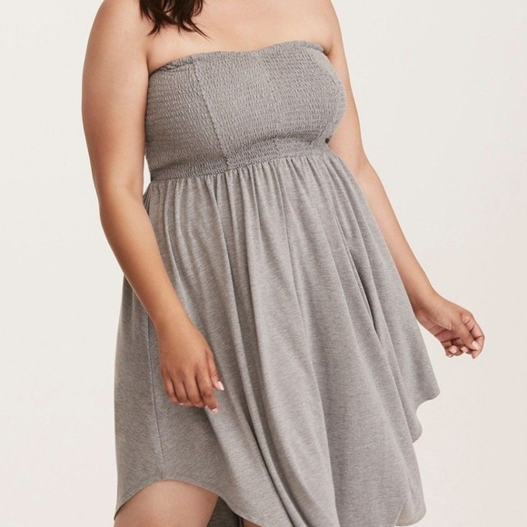 4d7ff79097 Torrid DRESS 00 2X Grey Smocked Tube Babydoll